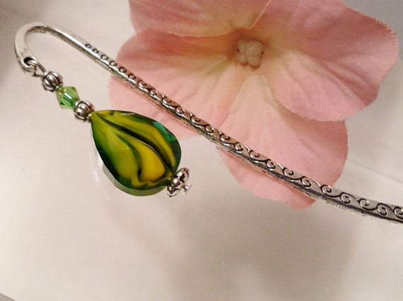 Green & Yellow Crystal Bookmark  SALE by RomanticThoughts on Etsy, $7.50, #RomanticThoughts.etsy.com, #bookmark, #RomanticThoughts