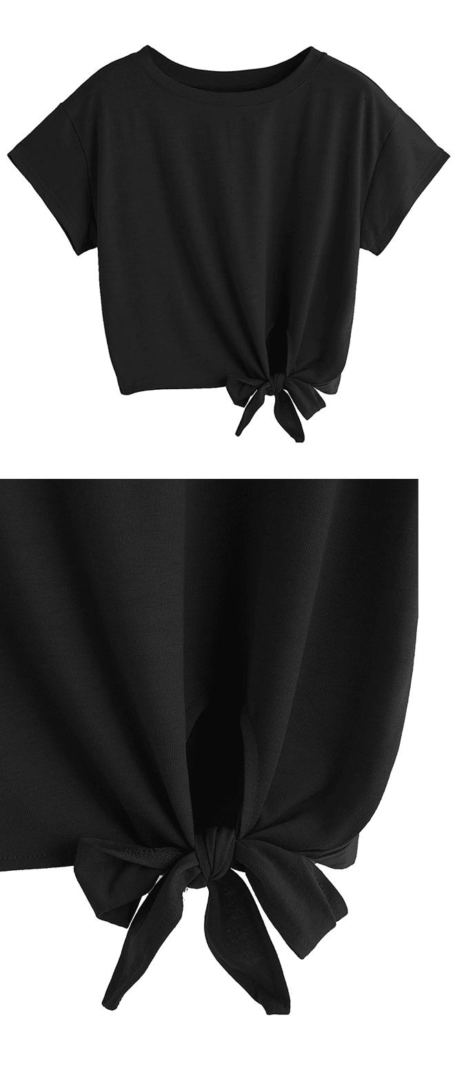 a14aff6f83b Black Loose Short Sleeve Summer Crop T-Shirt Top My Notebook