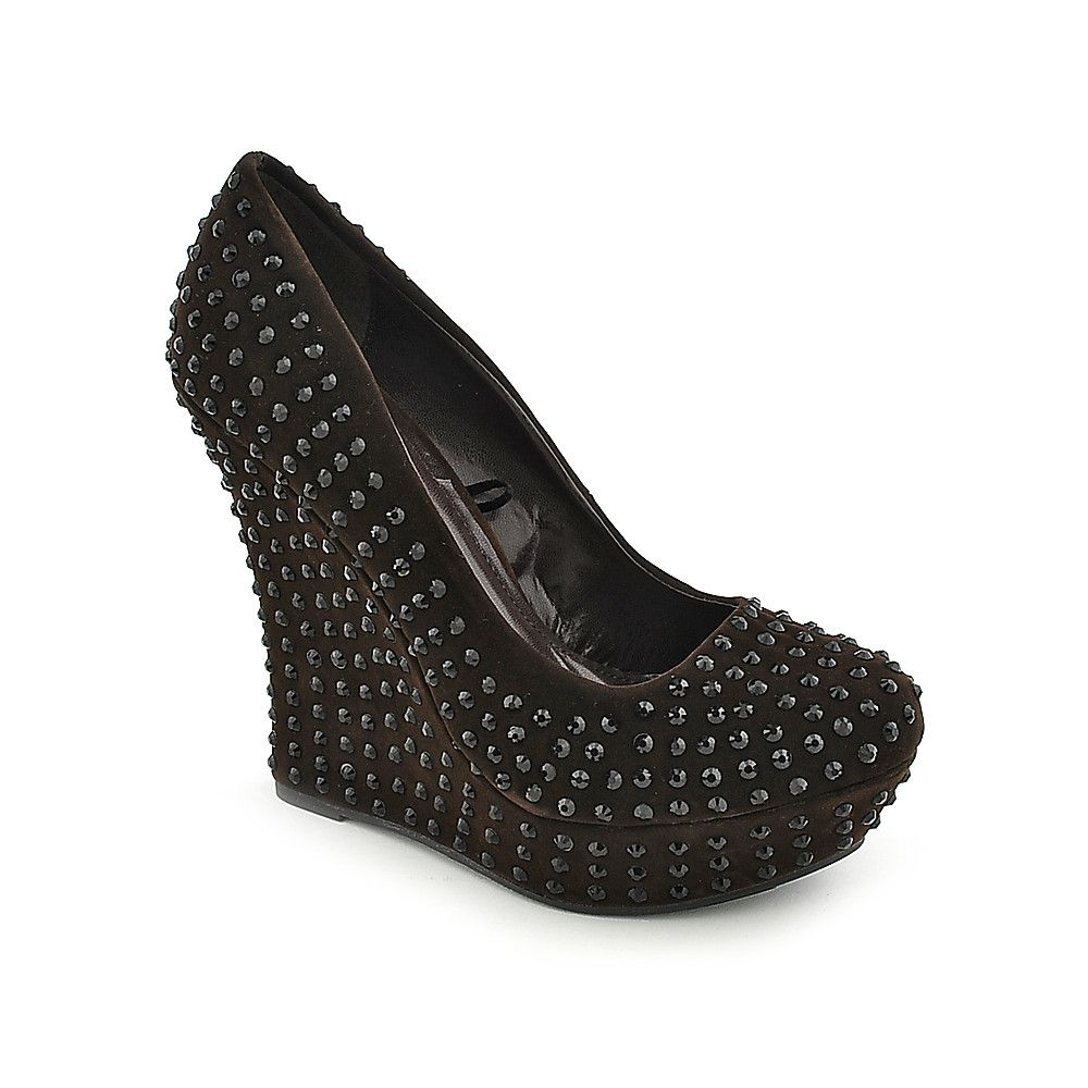 Womens 022 Dark Brown Black Dress Wedges Brown Dress Shoes Shoes [ 1000 x 1000 Pixel ]