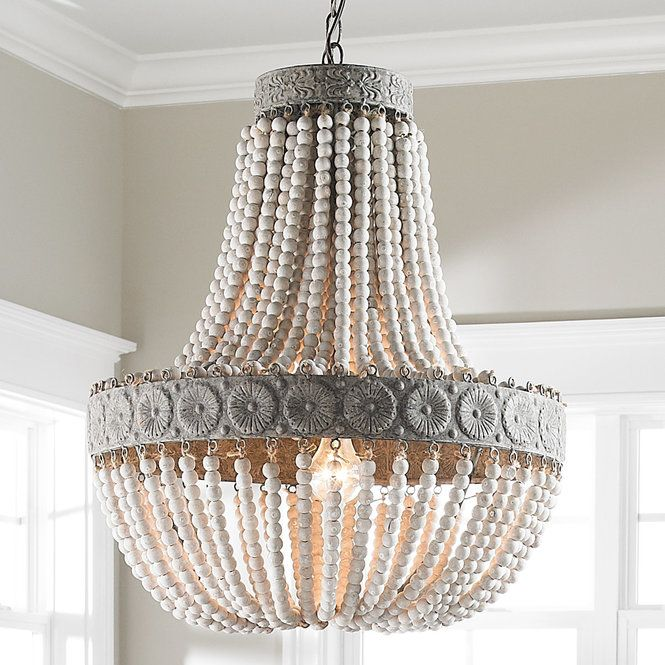 Aged wood beaded chandelier wood bead chandelier beaded aged wood beaded chandelier aloadofball Choice Image