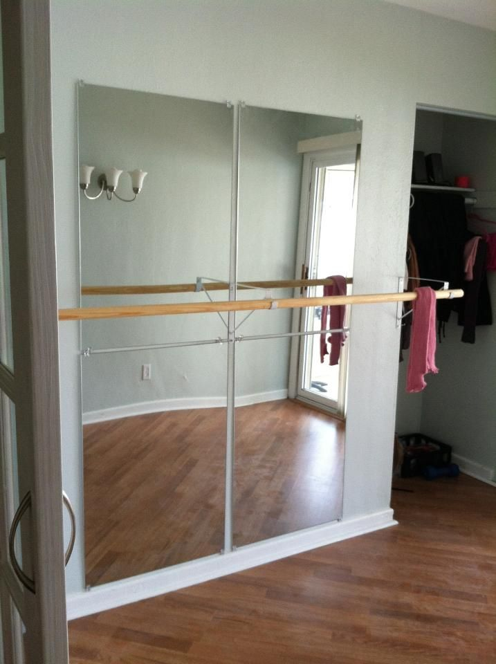 Wall mounted ballet barre quad mirrors workouots for Dance mirrors