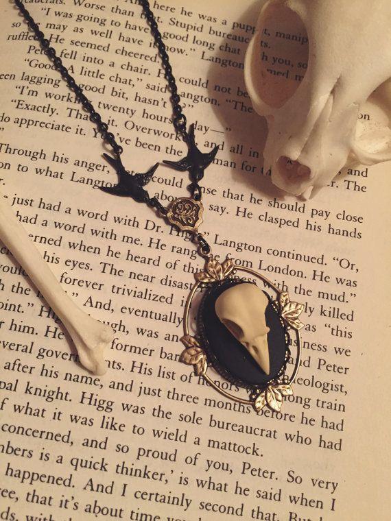 Black brass Resin bird skull necklace by BellhouseJewelry on Etsy