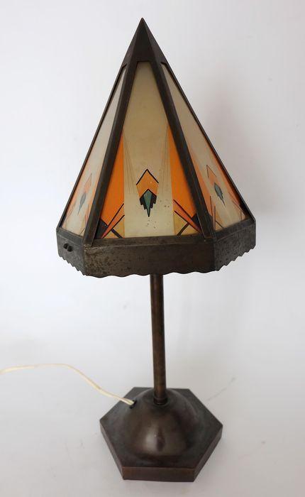Tafellamp Koper Gebrandschilderde Raampjes Glas Amsterdamse School Art Deco Tafellamp Deco