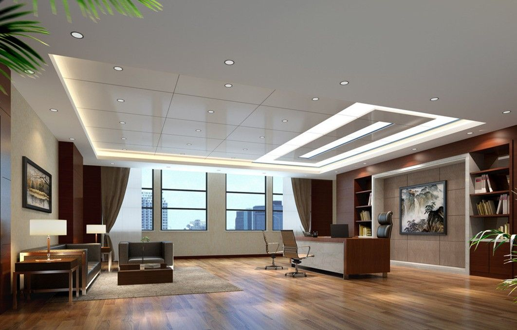 Modern ceo interior design with ceiling design for modern for Big office design