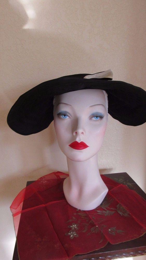 d9907a6d3 Vintage 1940's WWII Black Taffeta Wide Brim-Large Brim-Portrait Hat ...