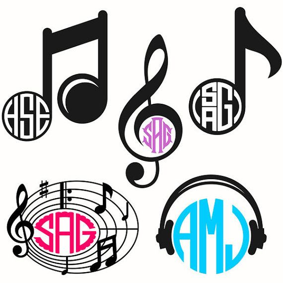 Music Notes Monogram Cuttable Svg Design Pack By
