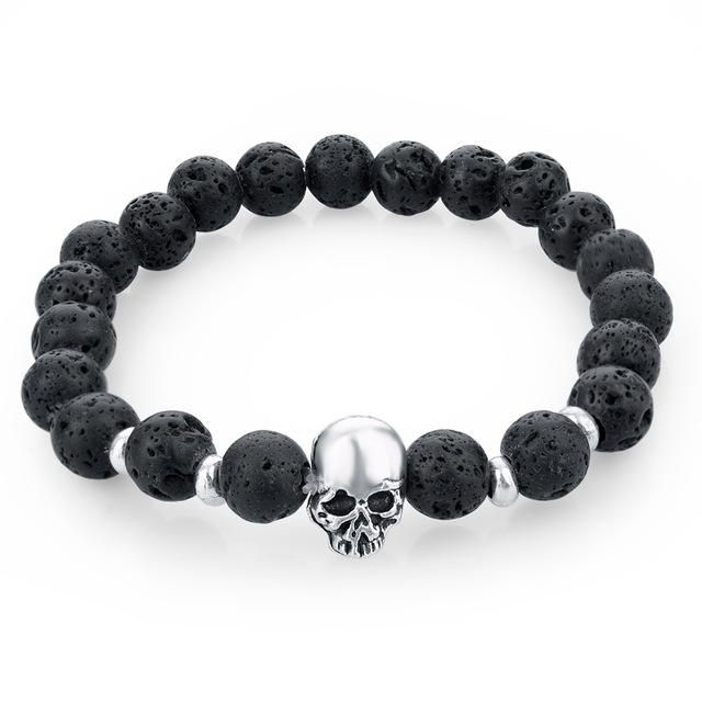 40a8cfc47 Natural Lava Stone Skull Bracelets With Elastic Band | Products ...