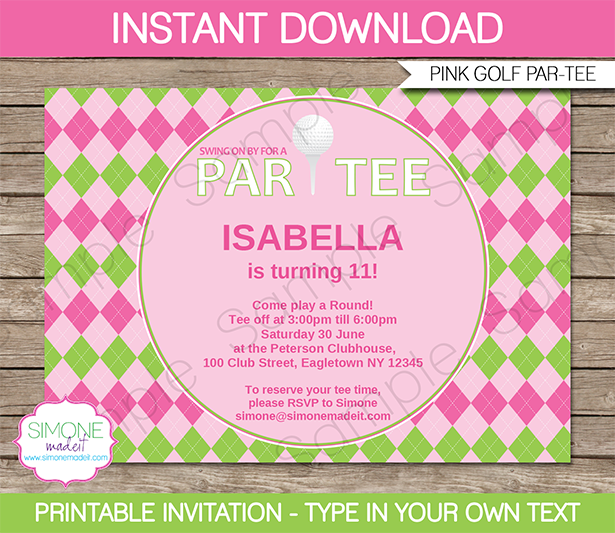Golf birthday party invitations template pink green party golf birthday party invitations template girls ladies pink filmwisefo Choice Image