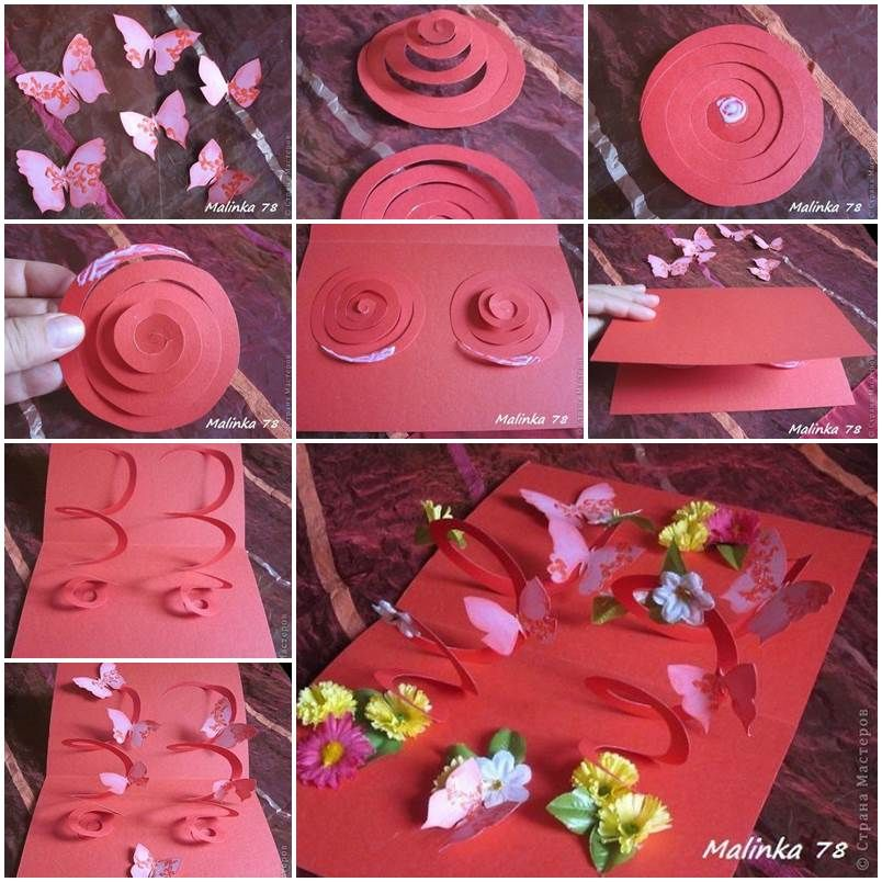 Exceptional 3d Card Making Ideas Part - 10: DIY 3D Butterfly And Flower Card