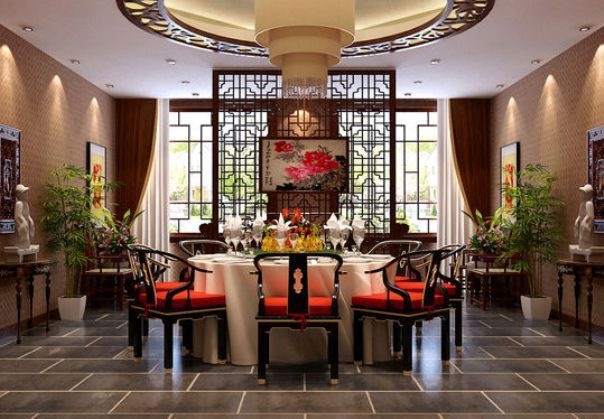 traditional oriental dining room ideas with bamboo trees | dinning
