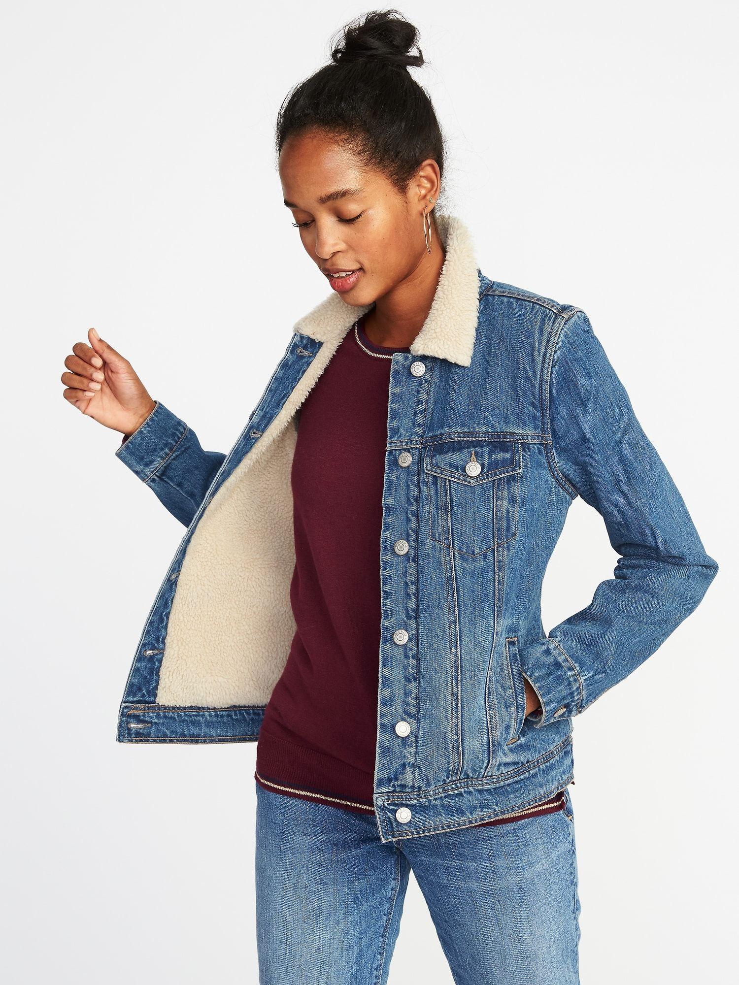 Sherpa Lined Denim Jacket For Women Old Navy Sherpa Lined Denim Jacket Lined Denim Jacket Denim Jacket Women [ 2000 x 1500 Pixel ]