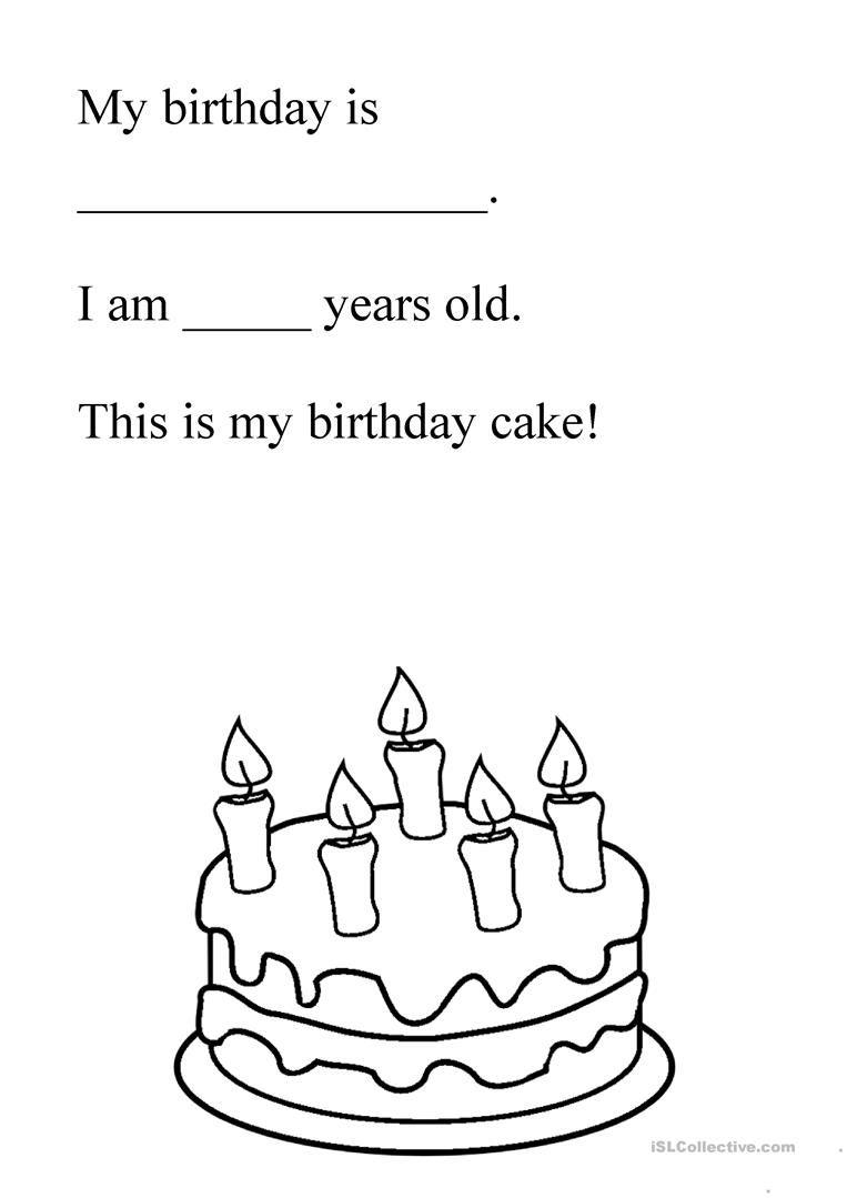 Birthday Cake Free Kindergarten Worksheets Kindergarten Phonics