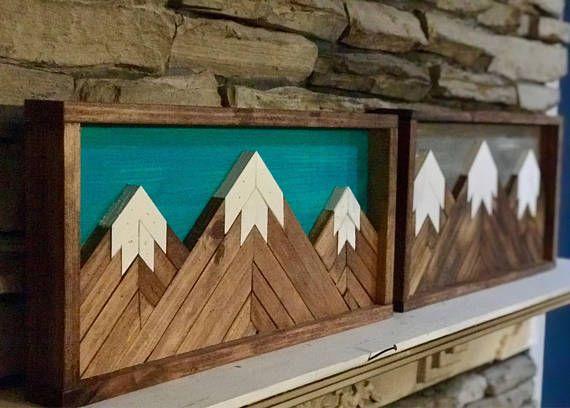 Mountain Wall Art 3d Wall Art Triple Mountain Wood Sculpture