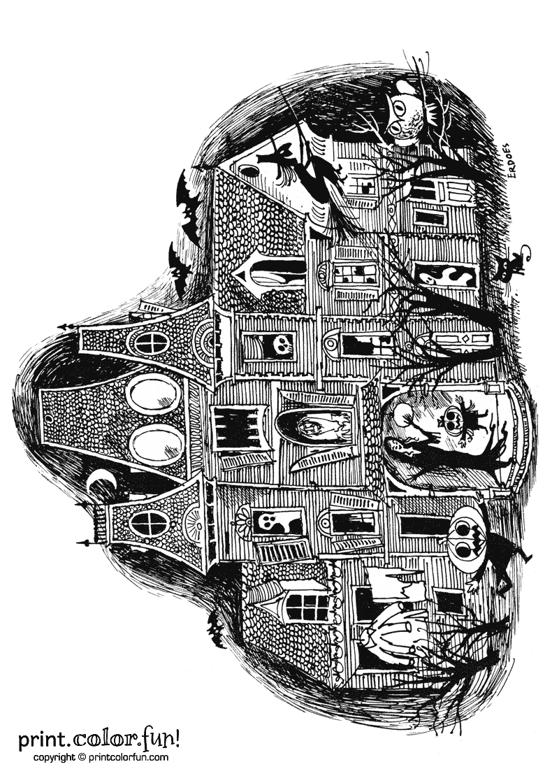 Haunted house coloring page Halloween Halloween
