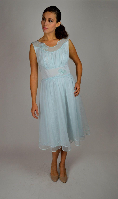 Blue Night Gown Vintage Lingerie Sheer Nightgown S Nightgown Honeymoon Lingerie Bridal Nightgown Vintage Blue Lingerie Size Med Lg By