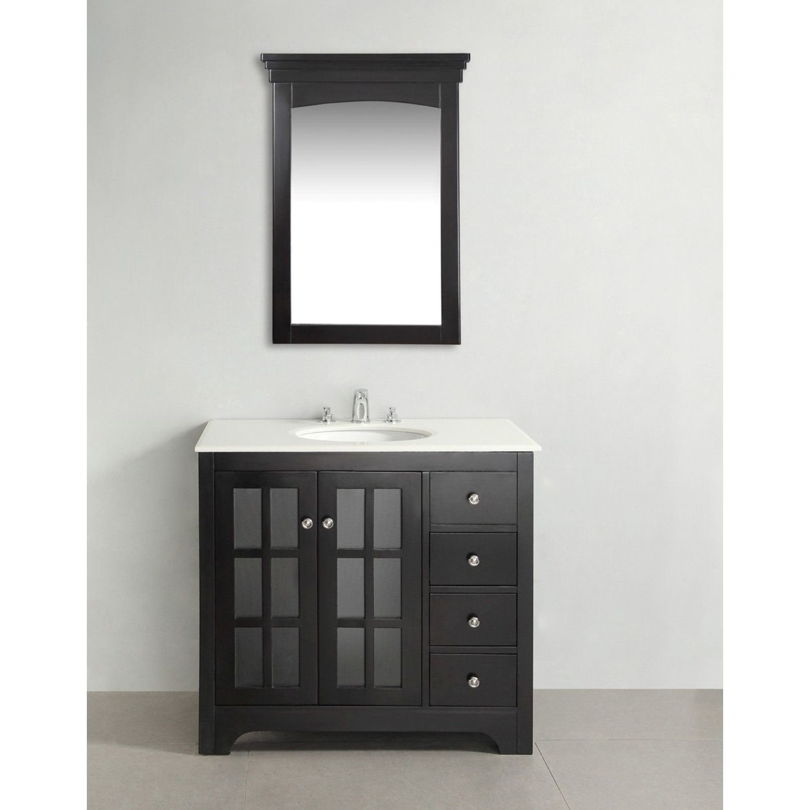 Marvelous The 36 Inch Louisiana Bathroom Vanity Is Defined By A Black Finish, Brushed  Nickel Knobs And Casual Contemporary Look. The Beautiful Assembled Vanity  ...