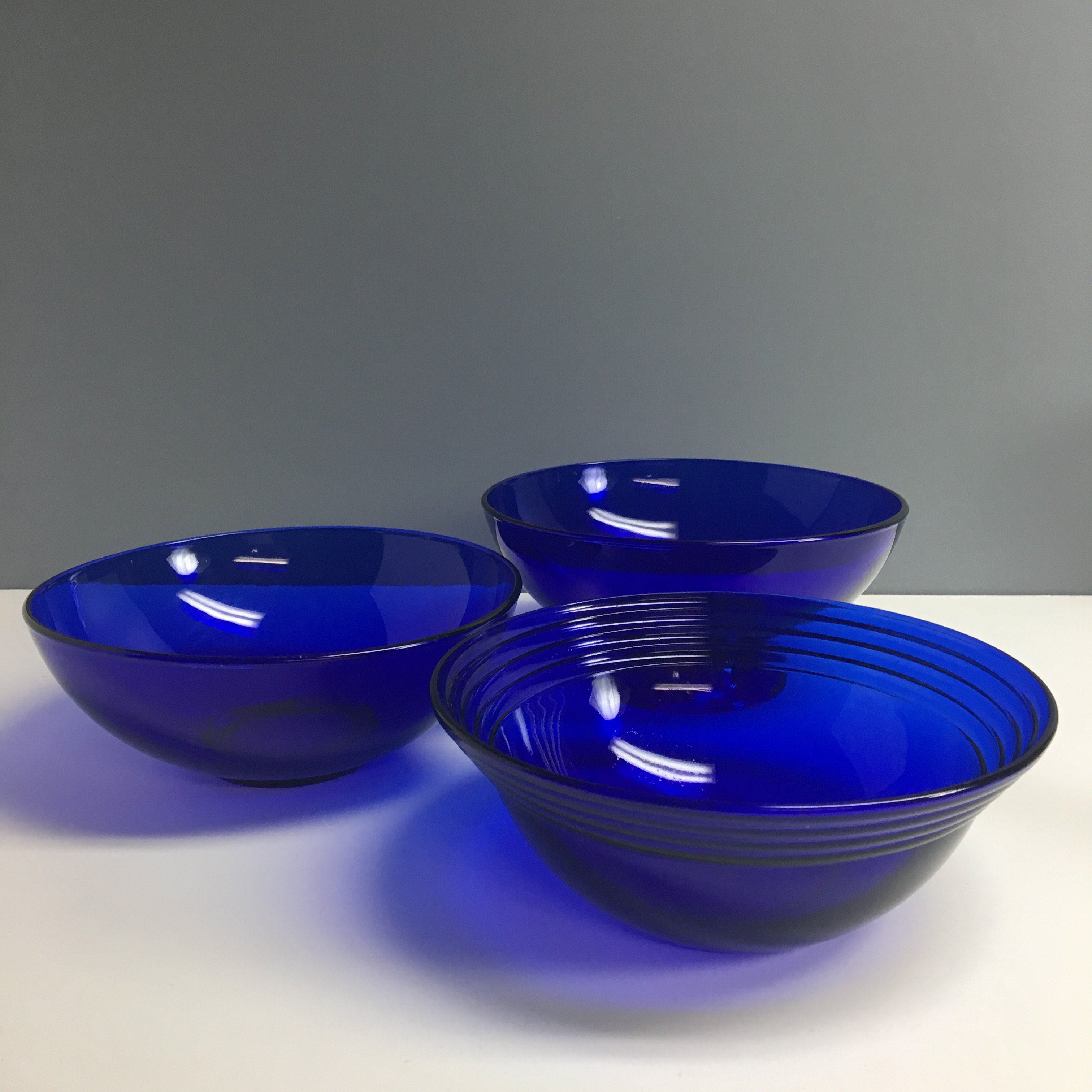 Three Vintage Cobalt Blue Serving Bowls For Mix And Match Display