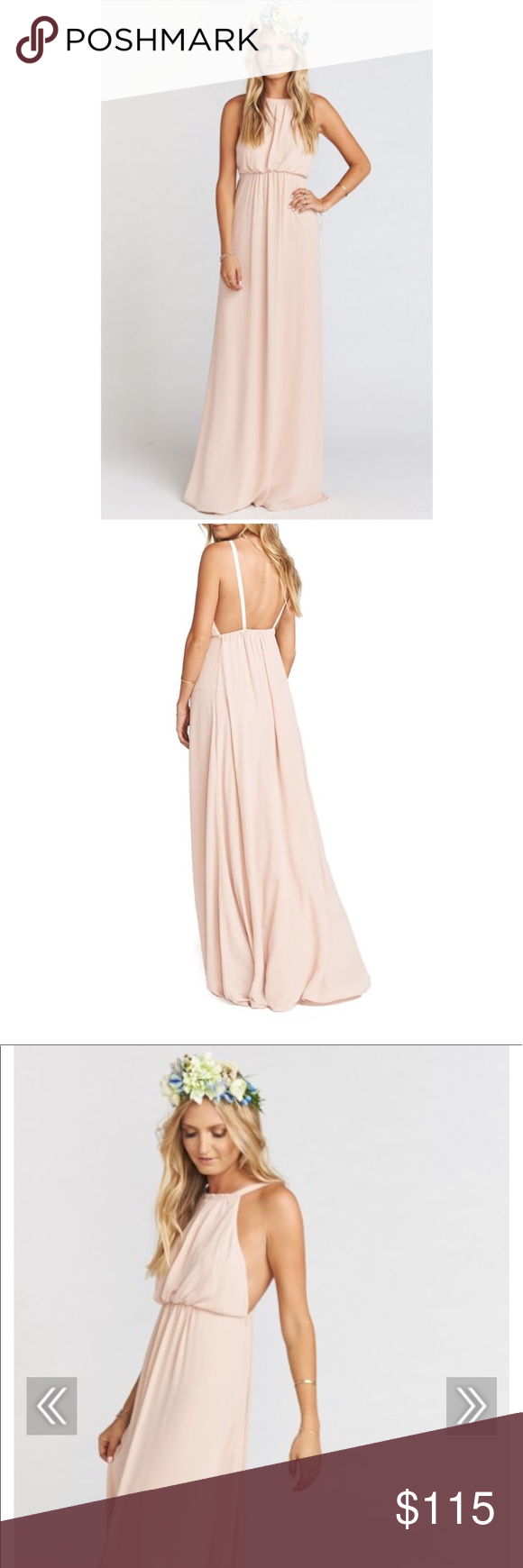 NWOT show me your mumu Amanda maxi dusty blush Love love love this half halter half two strapper gown. Amanda Maxi is cinched in to give a flowy and flattering silhouette. She looks great with simple little chokers or super long pendants. And a flower in the hair, of course!  Sold out online *MADE IN THE GORGE USA*  *100% Poly  *Open Back  *Lined to ground  *You can cut the straps and tie around neck to make her a halter dress Show Me Your MuMu Dresses