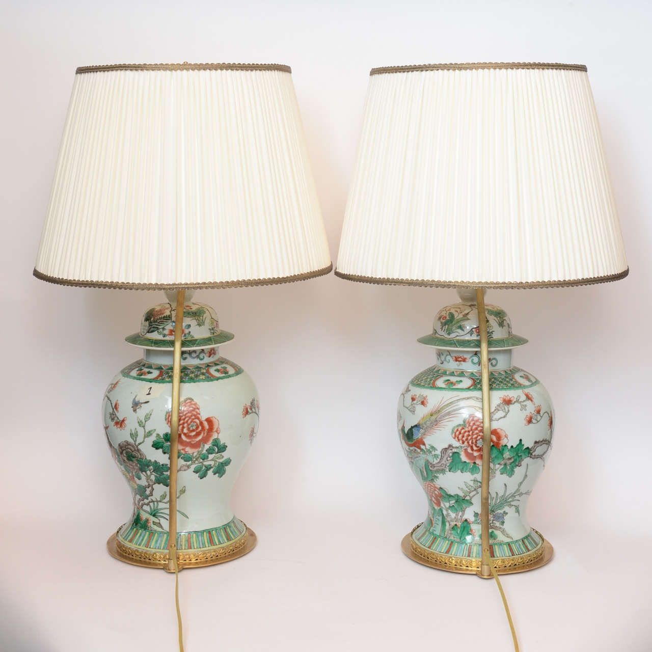 Pair Of 19th Century Chinese Ginger Jar Lamps With Painted Birds And Flowers From