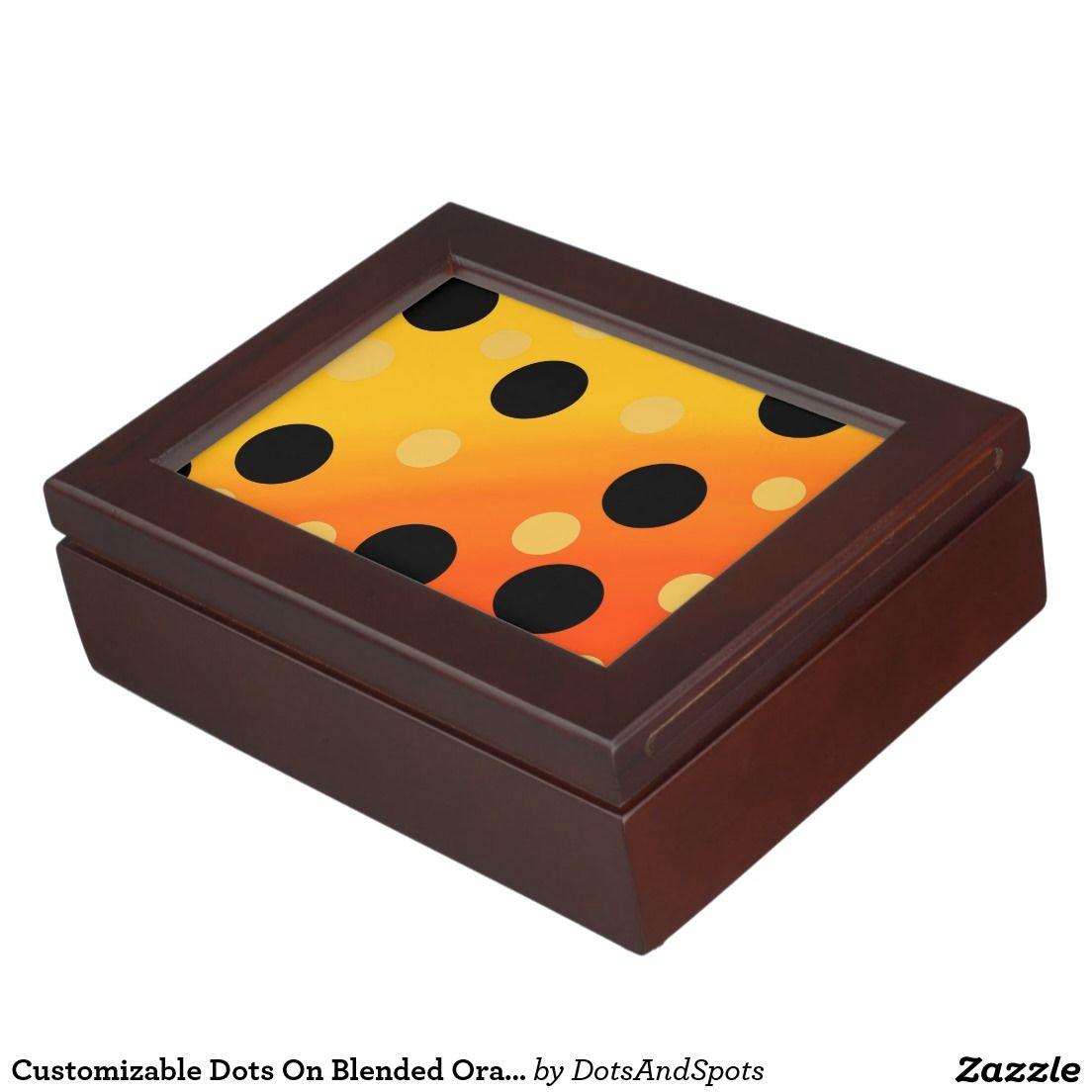 Customizable Dots On Blended OrangeToYellow Keepsake Boxes