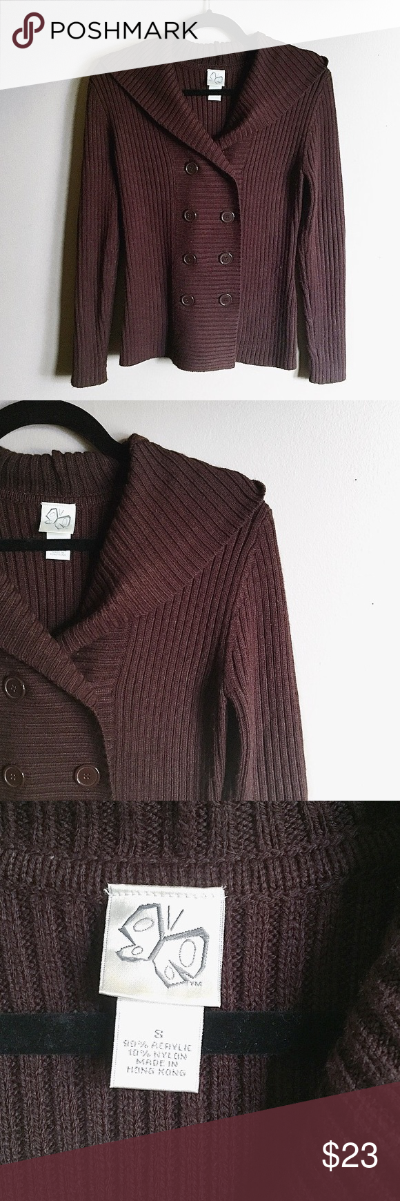 Brown cardigan A heavier brown hooded cardigan. Super cute and ...