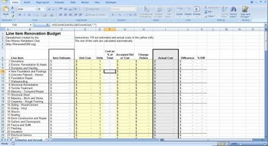 Renovation construction budget spreadsheet implementing for Home building cost spreadsheet