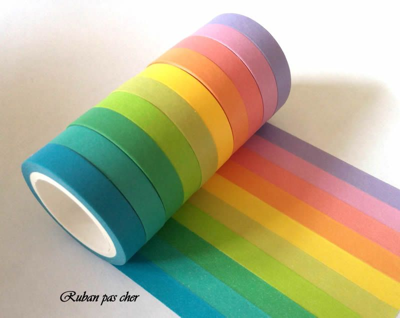 lot de 10 rubans masking tape arc en ciel coloris unis. Black Bedroom Furniture Sets. Home Design Ideas