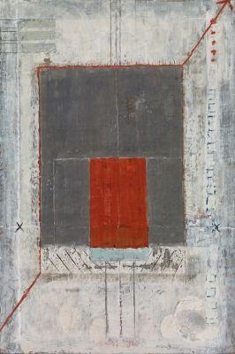 Marilyn Jonassen - Brown and Orange Rectangle, 2007, encaustic on clay board, 22in x 36in x 2in,