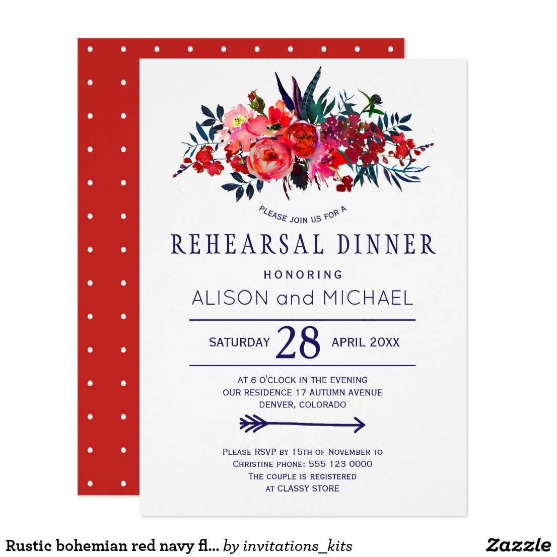 Rustic bohemian red navy floral rehearsal dinner invitation ...