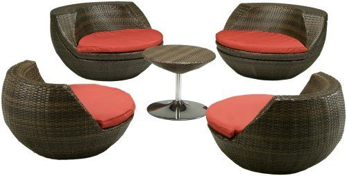 Red Star Traders Cantina 5-Piece Outdoor Seating Collection by Red Star Traders. $1699.99. Larger chairs weigh 24 pounds; smaller chairs weigh 22 pounds; table weighs 13 pounds; table measures 23 inches in diameter by 14-1/2 inches high. Constructed with sturdy, durable frames wrapped in espresso-colored, PE-coated rattan wicker; masks dirt and stands up to the elements. Larger chairs measure 21-1/2 inches deep by 42-1/2 inches wide by 41-1/2 inches tall; smal...