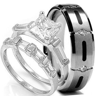 wedding ring set his hers 3 pieces stainless steel titanium engagement wedding rings