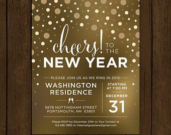 Custom New Years Eve Invitation Cheers To The New Year New Years Eve Party Invitation Confet New Years Eve Invitations New Years Eve Party Party Invitations