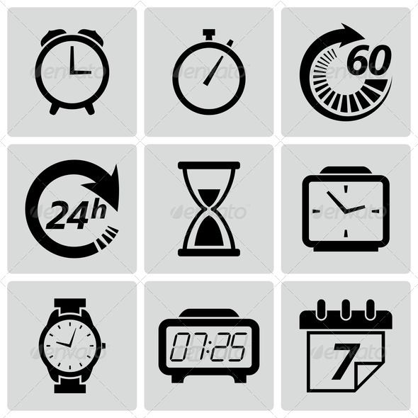 Clock And Time Icons Vectors Pictures Instagram Illustration Pictogramme