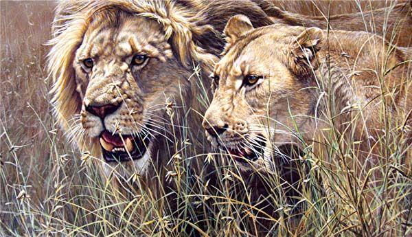 "By internationally acclaimed wildlife artist Alan M. Hunt    ""The Royal Couple II"" Acrylic on Masonite Board"