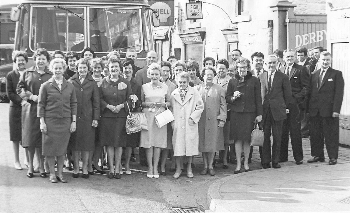 Bata Derbyshire & Blackburn Adlington Textile Mill Chorley Lancashire, outside entrance to mill Party for Long Service Awards leaving for East Tilbury 29th May 1965, awards presented by Thomas Bata, photo courtesy Charles Novotny Family Archive, we have more photos of the looms and employees of this mill, contact BRRC or see website