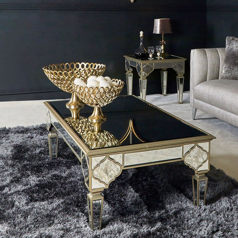 Sahara Marrakech Moroccan Gold Mirrored Low Coffee Table Avec