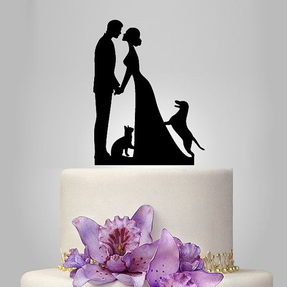 Family Wedding Cake Topper With Dog And Cat Bride By Walldecal76