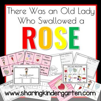 These are activities to go with the book, There Was an Old Lady Who Swallowed a Rose book. -Sequence Cards-Writing Activities-Reading Comprehension Game-More Activities and Printables-Puzzles or Word Wall Pictures-Spinner Graph-Fill the Ten Frame-Emergent Reader-ABC Order Game and Printable- Number Mats and Activity for Numbers 1-50THERE IS A FREEBIE IN THE PREVIEW DOWNLOAD!!!byMary AmosonSharing KindergartenSharing Kindergarten Facebook
