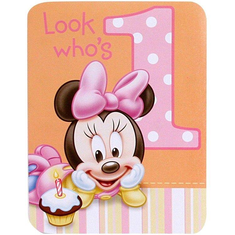Happy First Birthday Minniemouse Minnie Baby Fiesta De Mickey