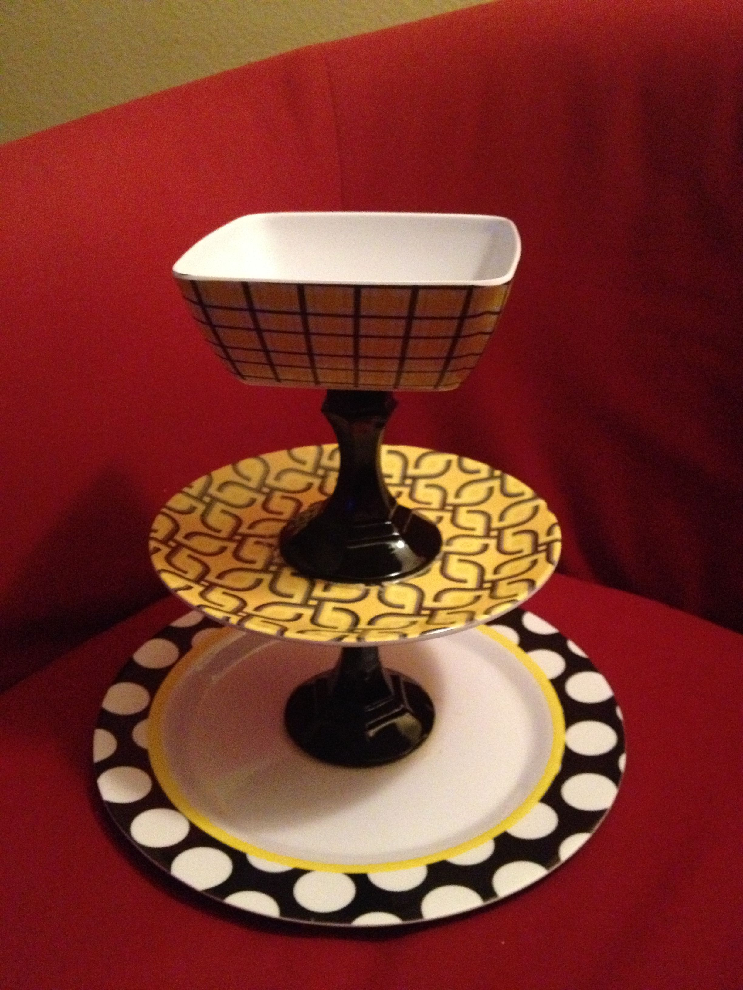 3 tiered server made from melamine plates and dollar tree