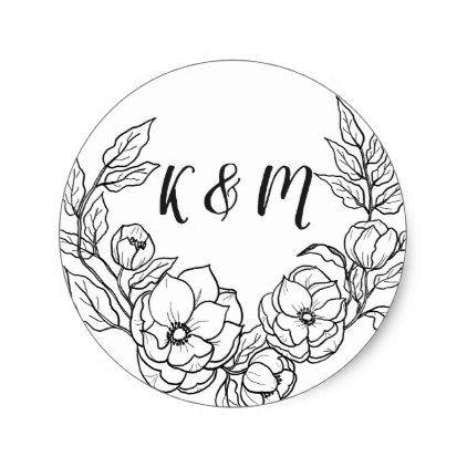 Modern Floral Frame Hand Drawn Wedding Monogram Classic Round