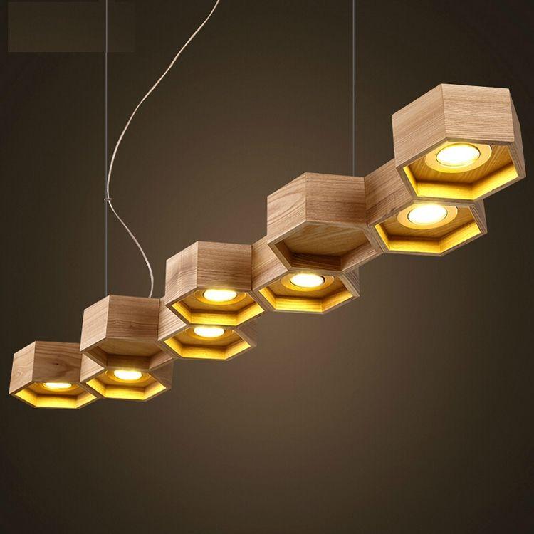 suspension bois design par Pilke Light en forme nid d abeilles  9