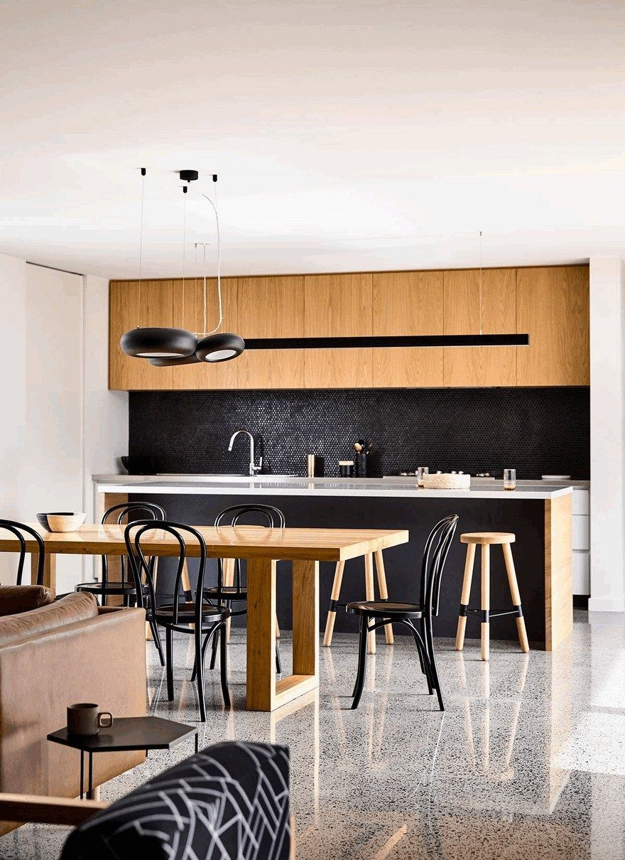 L Shaped Modern House In Melbourne By Inform Design Dining Table