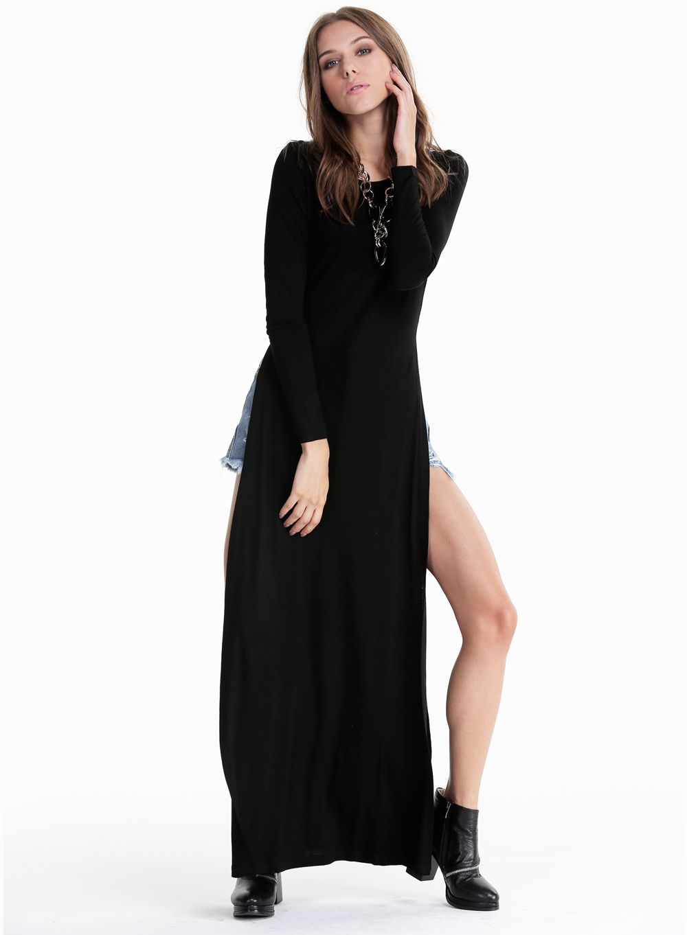 Cheap sexy o neck long sleeves side sexy body con and sleeve