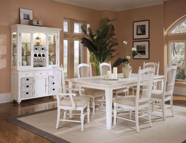 Love This White Dining Room Set With The Hutch Storage In And Spindle Back Chairs Linen