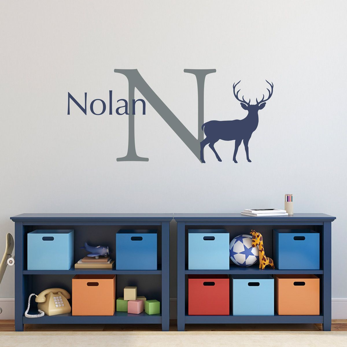 Personalized deer with initial and name wall decal large archer