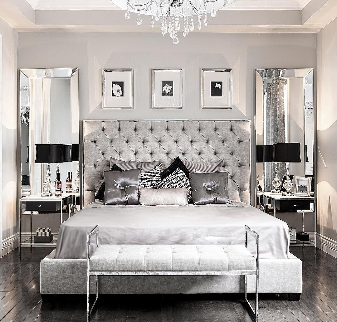Black and white bedrooms with a splash of color - Glamorous Bedroom Decor Via Stallonemedia
