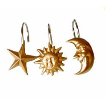Amazon Com Celestial Moon Star Shower Curtain Hook Ring Bath
