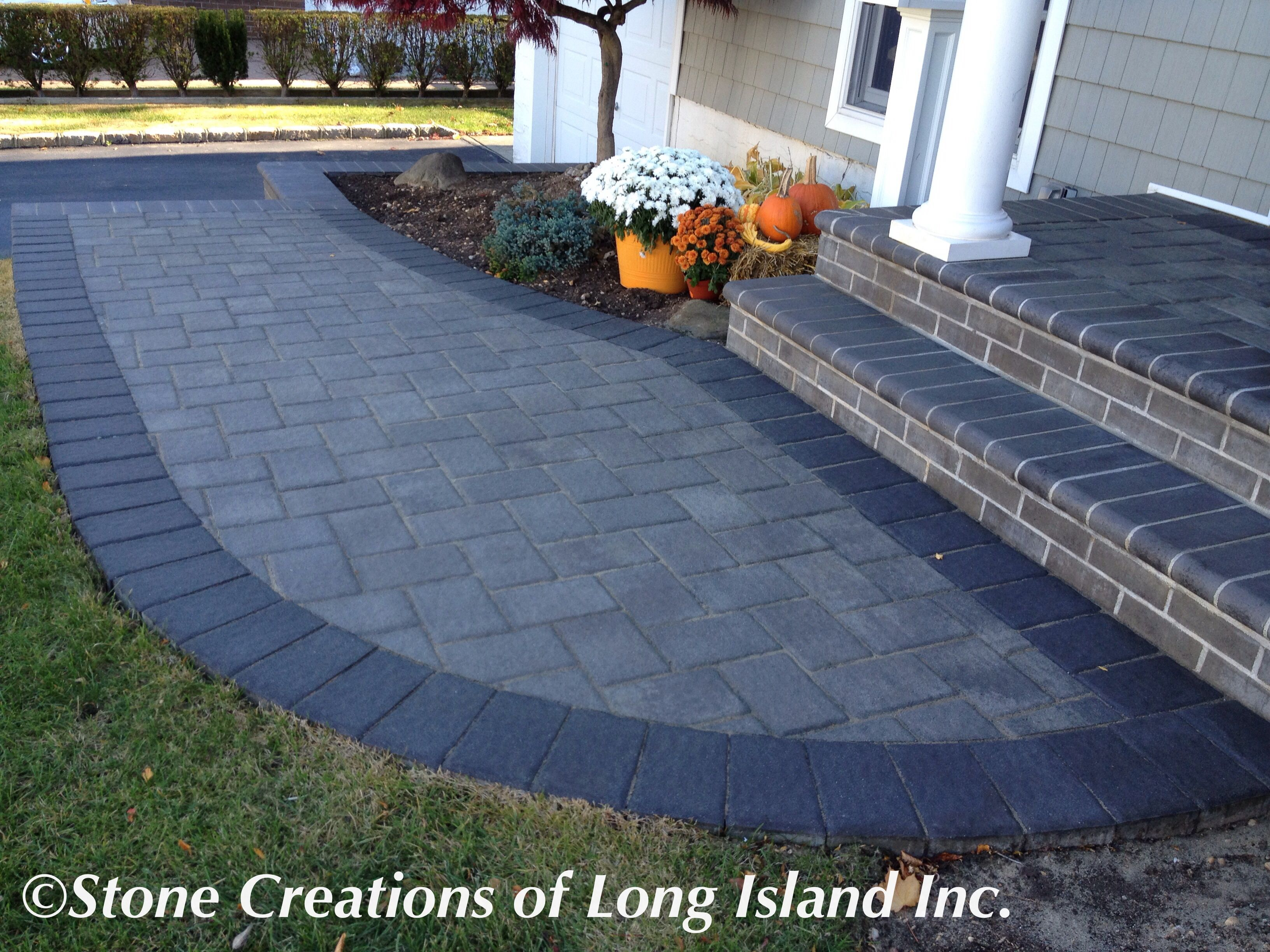 Cambridge Paving Stones Onyx Natural With Border Long Island S Masonry Contractor Www Stonecreationsoflongisland