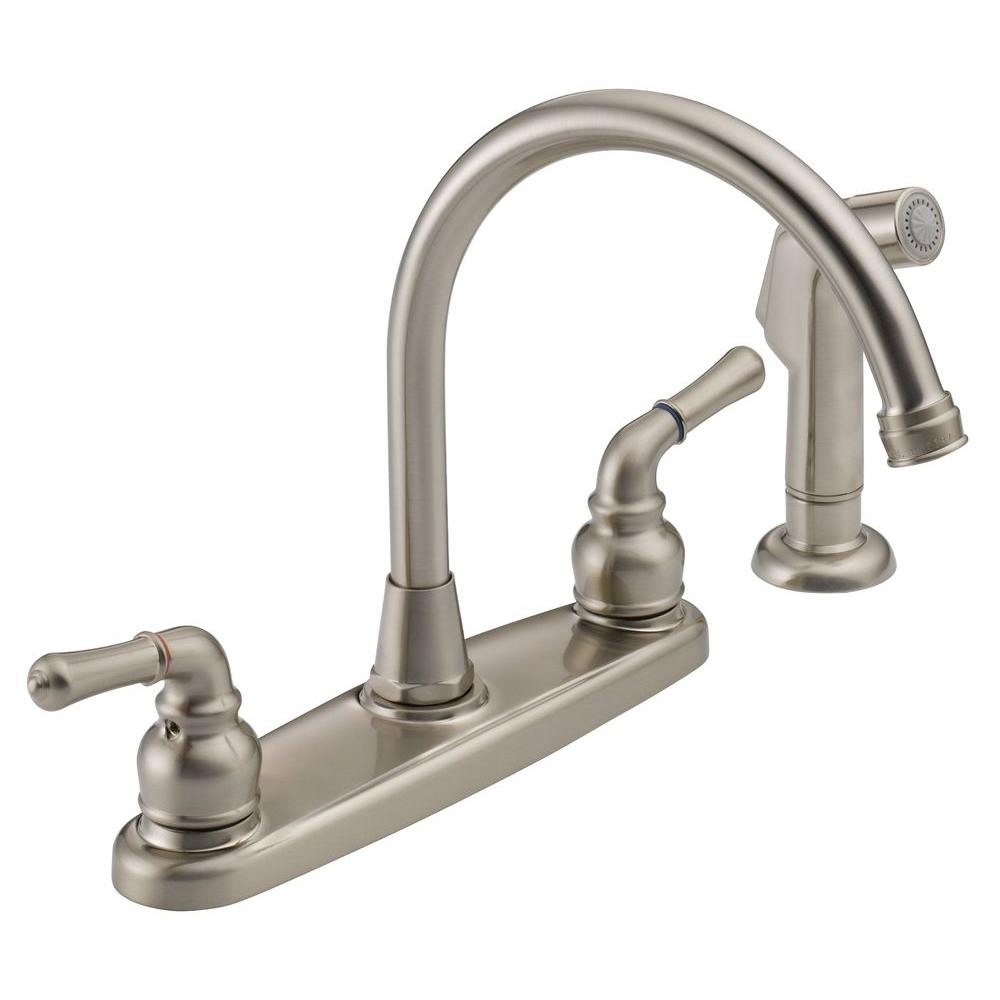 The Westbrass Co High Arc 2 Handle Standard Kitchen Faucet With Side